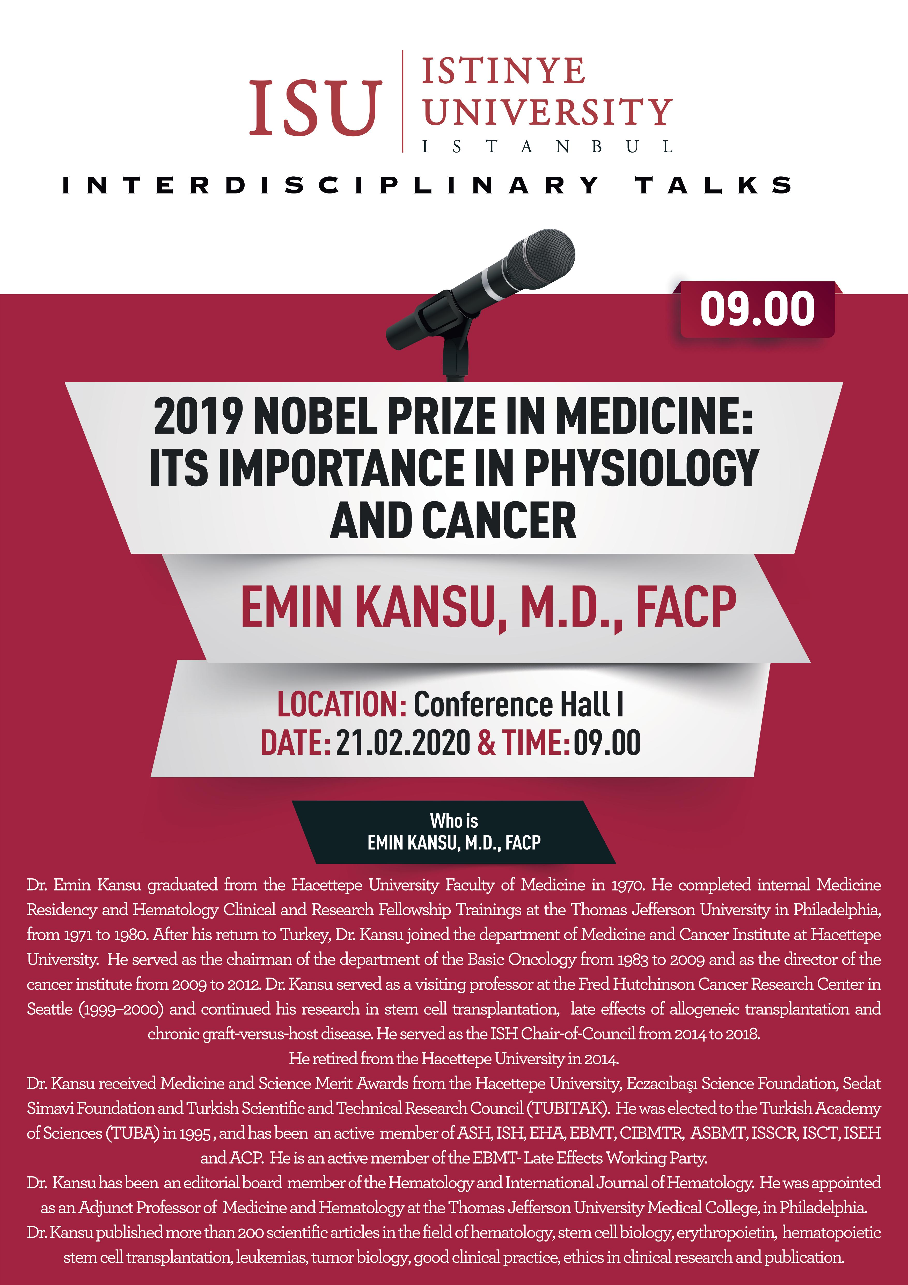 2019 Nobel Prize in Medicine: its Importance in Physiology and Cancer